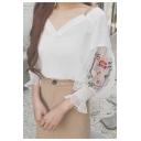 V Neck Bell Sleeve Sheer Floral Embroidered Sleeve Chiffon Pullover Blouse