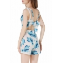 New Arrival Floral Printed Bow Back Plunge Neck Fashion Beach Rompers