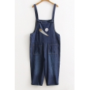 Basic Simple Baseball Printed Casual Leisure Denim Overalls