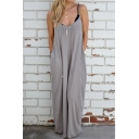 Loose Spaghetti Straps Sleeveless Plain Maxi Cami Dress with Two Pockets