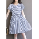 Round Neck Short Sleeve Buttons Down Bow Tie Waist Striped A-Line Midi Dress
