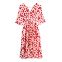 Women's Heart Printed Half Sleeve Belt Waist Wrap V-Neck Chiffon Midi Pleated Dress
