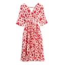 Women's Heart Printed Half Sleeve Belt Waist Wrap V-Neck Chiffon Midi Pleated Dress