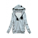 Cute Cat Pockets Long Sleeve Leisure Zip Placket Fashion Hoodie