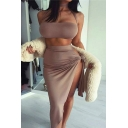 Hot Fashion Sexy Plain Halter Neck Cropped Tee with Bodycon Asymmetrical Skirt