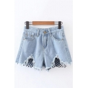 Fashion Net Patchwork Ripped Cutout Hem Mid Waist Denim Shorts