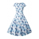 Retro Floral Printed Round Neck Cap Sleeve Fit & Flare Midi Flared Evening Dress