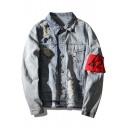 Street Style Chic Ripped Lapel Collar Long Sleeve Single Breasted Denim Jacket