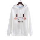 Cartoon Printed Basic Simple Long Sleeve Loose Casual Hoodie