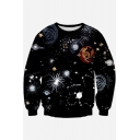 New Arrival Galaxy Printed Round Neck Long Sleeve Pullover Sweatshirt