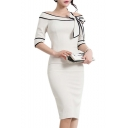 OL Stylish Off the Shoulder Half Sleeve Plain Midi Pencil Dress with Bow