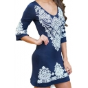 Women's Embroidery Tribal Pattern V-Neck 3/4 Length Sleeve Mini Dress
