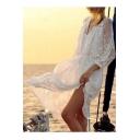 Summer Arrival Long Sleeve V-Neck Plain Midi Lace Smock Dress
