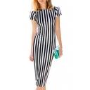 Hot Fashion Round Neck Short Sleeve Classic Striped Printed Midi Pencil Dress