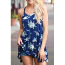 Summer Fashion Scoop Neck Sleeveless Floral Printed Mini Tank Dress