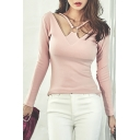 Slim Hollow Out V-Neck Long Sleeve Scoop Back Plain T-Shirt