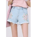 High Rise Floral Embroidered Fringe Trim Leisure Hot Pants Denim Shorts