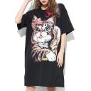 Lovely Cartoon Cat Printed Beaded Bow Short Sleeve Round Neck Midi T-Shirt Dress
