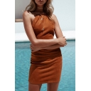 New Fashion Backless Spaghetti Straps Plain Mini Bodycon Slip Dress