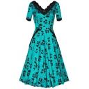 Glamorous Cartoon Printed Scallop V-Neck Half Sleeve Maxi A-Line Dress