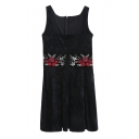 New Stylish Squared Neck Sleeveless Embroidery Floral Pattern Velvet Mini Shift Dress