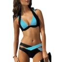 New Fashion Color Block Halter Neck Cut Out Bikini Swimwear