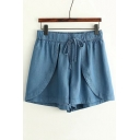 Summer's Plain Elastic Drawstring Waist Loose Denim Culottes