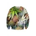 Hot Fashion 3D Pineapple Printed Loose Round Neck Long Sleeve Sweatshirt