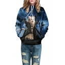 Cool Cartoon Cat Printed Long Sleeve Oversize Loose Unisex Hoodie