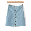 Fashion Single Breasted Plain Basic Denim Mini A-Line Skirt