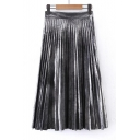 Fashion Women's Metallic Plain Maxi Pleated Skirt