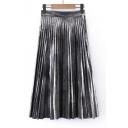 Fashion Women's Metallic Plain Maxi Pleated Skirt