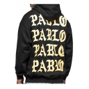 Hot Fashion Letter Printed Back Hip Hop Long Sleeve Casual Hoodie