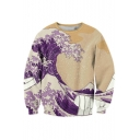 Digital Wave Printed Round Neck Long Sleeve Fashion Pullover Sweatshirt