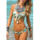Sexy Halter Floral Printed Hipster Bikinis with Bow