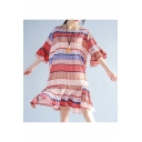 Ruffle Hem Round Neck Half Sleeve Color Block Chic Midi Chiffon Dress