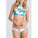 Foliage Pattern Halter Neck Open Back Bikini Swimwear