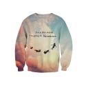 Letter Cloud Pattern Round Neck Long Sleeve Leisure Pullover Sweatshirt
