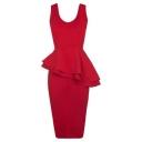 Scoop Neck Sleeveless Ruffle Hem Plain Midi Pencil Dress