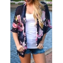 See Through Floral Printed Half Sleeve Open Front Chiffon Top
