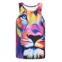 Oversize Lion Pattern Round Neck Sleeveless Slim Sports Tank Top