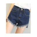 Summer's High Waist Fringe Hem Plain Slit Side Denim Shorts