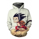 Cartoon Printed Drawstring Hooded Long Sleeve Hoodie Sweatshirt with Two Pockets