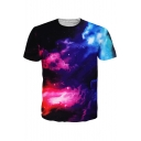 Unisex Galaxy Color Block Printed Short Sleeve Round Neck Tee