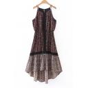 Floral Printed Spaghetti Straps Midi Asymmetrical Slip Dress