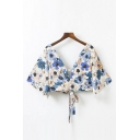 Sexy Plunge V-Neck Half Sleeve Floral Printed Tied Back Cropped Blouse