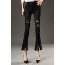 New Fashion High Waist Ripped Skinny Flared Capris Plain Jeans