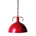 7'' Wide Bowl Shape Red Finished Mini Barn LED Pendant
