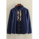 Plaids Printed Lapel Collar Long Sleeve Cotton Casual Buttons Down Shirt