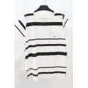 Basic Simple Striped Printed Round Neck Short Sleeve Casual Tee